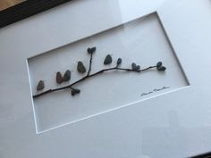 Sharon Nowlan, when make own be sure to sign, use white mat floated from board, white or grey frame, 22x16 ish behind glass?  - 12 by 16 framed pebble art, birds on branch