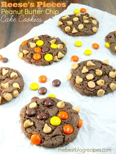 Reese's Pieces Peanut Butter Chip Cake Mix Cookies | The Best Blog Recipes   #cookies  #desserts  #reeses