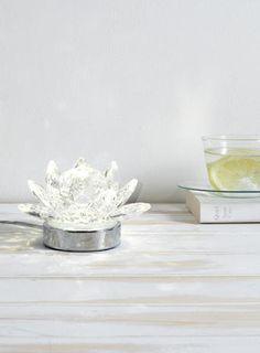 Clear Lotus Table Lamp LED tealight chrome crystal light BHS