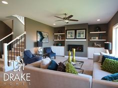 built in fireplace white floating shelving gray - Google Search