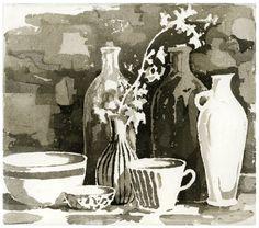 Salal Moon Rinaldo -  Seven Vessels and Flowers, sugar lift aquatint etching
