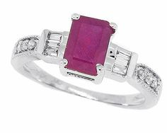 1.00Ct Emerald Cut Genuine Ruby Ring with Diamond in 14KT Gold Plated Sterling Silver -