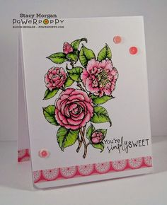 Camellias digital stamp set by Power Poppy, card design by Stacy Morgan.