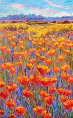 "Michelle Chrisman ""Desert in Bloom"" oil, 48"" x 30"""