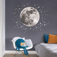 Space themed wall decals - Moon & stars fabric wall decal