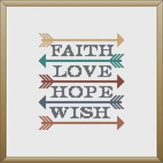 Arrow, Love, Hope, Cross Stitch Pattern, PDF, Instant Download, Gift, Inspirational by KnitSewMake on Etsy