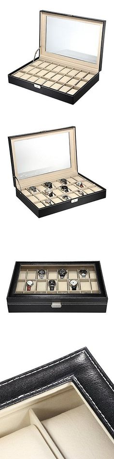 Watch 168164: Watch Box 24 Slots Men Black Pu Leather Display Glass Top Jewelry Case Valuable -> BUY IT NOW ONLY: $63.23 on eBay!
