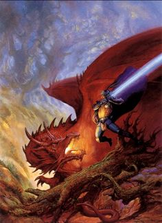 The final, fierce battle between the extremely dreaded Red Dragon and the valiant Blue Knight by Jeff Easley.