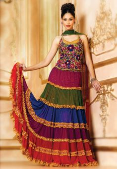 I'm not in love with the top, but have to appreciate the colors on the skirt in this ghagra choli.
