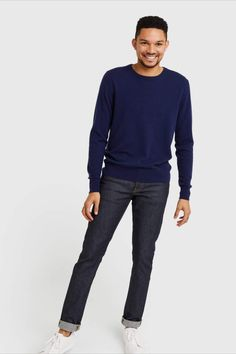 A timeless staple. Our cashmere crew features 100% Grade A Mongolian cashmere. A versatile classic, it can easily be worn when you need to look your best, and worn casually with a pair of jeans or around the house. It'll soon become a part of your everyday uniform. Cashmere Sweater Men, Men Sweater, Best Sellers, That Look, Normcore, Pairs, Navy, Jeans, Classic