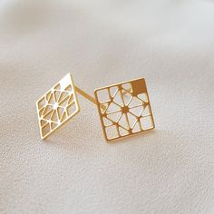 #MIZYAN's #geometric #stud #earrings #rhombus #earrings by #HananMass