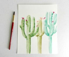 You can paint a watercolor cactus! Learn how with this simple tutorial.