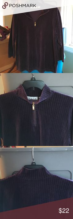 Chaus Woman Sweater/Shirt Chaps pullover shirt. Ribbed Purple velour 80% Cotton 20% Polyester Chaus Sweaters Crew & Scoop Necks