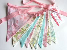 Vintage Retro Garden Party Pastel Flag Bunting. Wall hanging, Party Decoration, Market Stall, Wedding, etc. Upcycled fabric