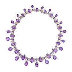 White Gold, Amethyst and Diamond Necklace - designed as a series of stylized bees, set with round, pear and oval-shaped amethysts, accented by round diamonds