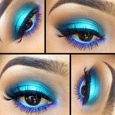 Blue, Vibrant, Eye Shadow, Makeup