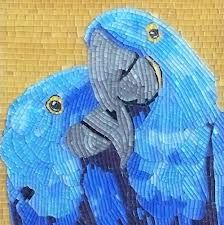 """Lucy N Baby"" - mosaic and micro mosaic art, love birds, parrots Mosaic Diy, Mosaic Crafts, Mosaic Projects, Stained Glass Projects, Stained Glass Patterns, Mosaic Patterns, Art Projects, Mosaic Ideas, Mosaic Animals"