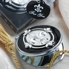 Elegant Reflections Collection Fleur Di Lis Mirror Compacts