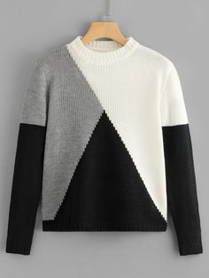 To find out about the Color Block Jumper at SHEIN, part of our latest Sweaters ready to shop online today! Handgestrickte Pullover, Pullover Sweaters, Jumper, Fall Sweaters, Color Block Sweater, Sweater Weather, Knitwear, Knit Crochet, Knitting Patterns