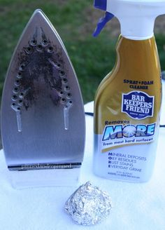 How to Clean an Iron with aluminum foil.
