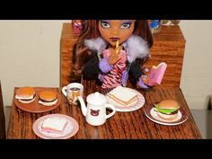 How to make hamburger and ham & cheese sandwich (with hot glue) for doll (Monster High, Barbie, etc) - YouTube