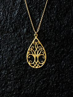 925 Solid Sterling Silver Filigree Tree of Life Necklace - 46cm/18