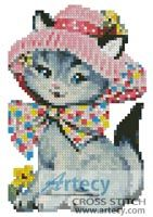 Mini Cat in a Hat Counted Cross Stitch Pattern http://www.artecyshop.com/index.php?main_page=product_info&cPath=11_12&products_id=1019