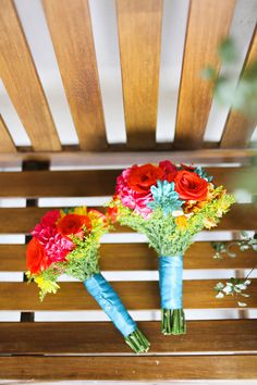 bright bouquet + blue ribbon // photo by Adrienne Gunde, flowers by Ninfa's Flowers // http://ruffledblog.com/mexican-fiesta-wedding