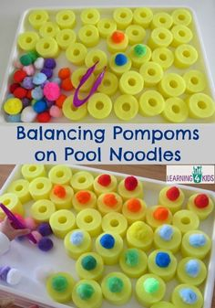 Balancing Pompoms on Pool Noodles - fine motor activities for preschoolers. This is a good activity for a parent to set up for their child to practice fine motor skillsPool Noodle Activities Fine Motor Fun - Tap the pin if you love super heroes too! Preschool Fine Motor Skills, Motor Skills Activities, Gross Motor Skills, Preschool Learning, Toddler Activities, Learning Activities, Sensory Activities For Preschoolers, Fine Motor Activities For Kids, Fun Learning