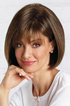 Shop our selection of short bob style wigs! Scorpio by Revlon Wigs boasts full fringe bangs with a rounded bob cut and features a cool, capless construction. Asymmetrical Bob Haircuts, Short Bob Haircuts, Long Bob Hairstyles, Hairstyles With Bangs, Neck Length Hairstyles, Vintage Hairstyles, Bob Haircut With Bangs, Short Hair With Bangs, Short Hair Cuts