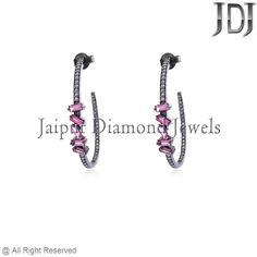 1.07ct Tourmaline Baguettes Gemstone Diamond .925 Sterling Silver Hoop Earrings #Handmade #Hoop