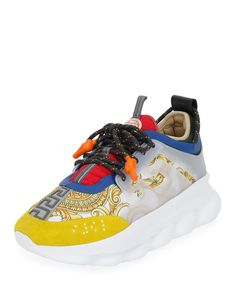 """Versace sneakers in Gold Hibiscus printed nylon and leather with PVC trim. """"Chain Reaction"""" is made in Italy. Versace Sneakers, Sneakers Fashion, Fashion Shoes, Mens Fashion, Men's Shoes, Shoes Sneakers, Versace Chain, Mens Designer Shoes, Gold Chains For Men"""