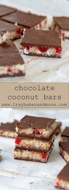Chocolate Coconut Slice, Chocolate Recipes, Chocolate Bars, Tray Bake Recipes, Baking Recipes, Cake Recipes, Eid Biscuits, Traybake Cake, Delish Cakes
