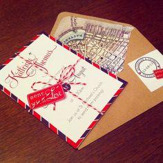 PRINTED SAMPLE - Travel Inspired Destination Wedding Invitation - Sample Only on Etsy, $6.42