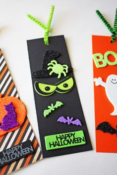 Every kid wants a personalized bookmark for those weekly library books coming home from school! Make these cute Halloween-themed bookmarks using glittered stickers and Halloween inspired scrapbook paper. Mix and match with the fun Halloween self-adhesive sticker shapes too!