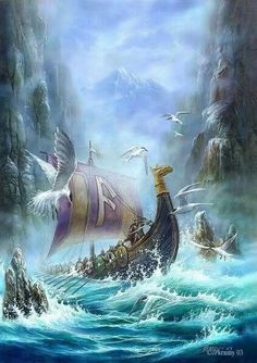 Viking longship in a dangerous fjord