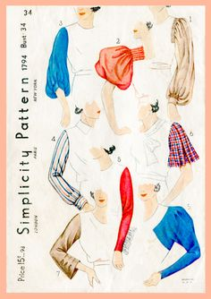Vintage Simplicity 1794 Sewing Pattern 1930s 30s sleeve set & blouse  8 styles bust 34 repro reproduction by LadyMarloweStudios on Etsy