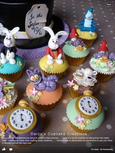Alice in Wonderland cupcakes created to celebrate an Birthday Cupcakes with buttercream and cupcakes domed with buttercream and fondant and topped with White Rabbit Caterpillar pocket watches Cheshire cats mushrooms and flowers tea cups Fondant Cupcakes, Fondant Toppers, Cute Cupcakes, Cupcake Cakes, Birthday Cupcakes, Cupcake Toppers, Alice In Wonderland Cupcakes, Alice In Wonderland Tea Party, Mad Hatter Party