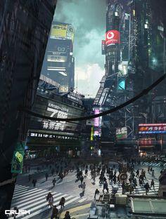 A scrapbook of cyberpunk visions to get you dreaming about the future to come. Ville Cyberpunk, Art Cyberpunk, Cyberpunk Aesthetic, Science Fiction, Fantasy City, Sci Fi Fantasy, Games Design, Arte Ninja, Sci Fi City