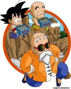 Goku, Krillin, and Roshi