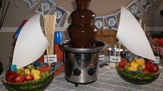 Watermelon Sail Boats filled with fruit to sail in the Chocolate Fountain. Sailor Theme Party