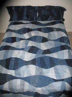 Queen Size Upcycled Denim Quilt -  Water Ripples Quilt - $330.00 Made to Order
