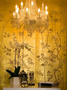 love wall paper and chandelier