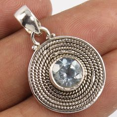 Ethnic Design 925 Pure Sterling Silver Jewellery Pendant Natural BLUE TOPAZ Gems #Unbranded #Pendant