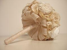 Bridesmaid Fabric Bouquet, Vintage Wedding,  Rosette,  Handmade Fabric Bouquet , Toss Bouquet, Lace and Pearls - Small. $60.00, via Etsy.