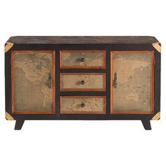 Lend a touch of vintage-inspired charm to your entryway or master suite with this handsome console table, showcasing antiqued map drawer fronts and top....