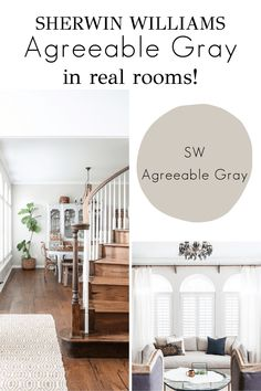 See SW Agreeable Gray in REAL spaces and find out why it's the perfect greige paint! Greige Paint Colors, Room Paint Colors, Interior Paint Colors, Paint Colors For Living Room, Paint Colors For Home, Living Room Grey, House Colors, Popular Paint Colors, House Paint Interior