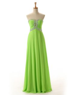 A-line Sweetheart Floor-Length Sleeveless Backless Chiffon Green Prom Dress Evening Gowns With Beading