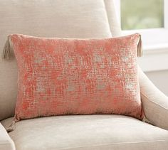 This could be nice on the chair in living room  Foil Printed Tassel Lumbar Pillow #potterybarn