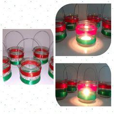 Reutilizando copo de geléia para enfeites da mesa de Natal
